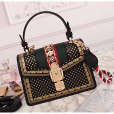 Gucci Sylvie Leather Mini Bag 470270 Black 2018