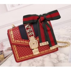 Gucci Sylvie Leather Mini Chain Bag 431666 Red 2018