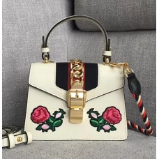 Gucci Sylvie Embroidered Mini Bag 470270 White Leather 2017