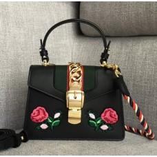 Gucci Sylvie Embroidered Mini Bag 470270 Black Leather 2017
