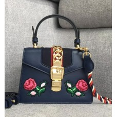 Gucci Sylvie Embroidered Mini Bag 470270 Blue Leather 2017