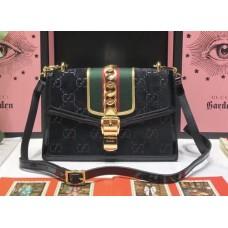 Gucci Sylvie GG Velvet Small Shoulder Bag 524405 Black 2018
