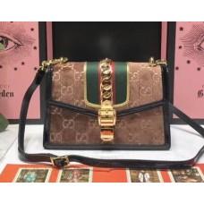 Gucci Sylvie GG Velvet Small Shoulder Bag 524405 Brown 2018
