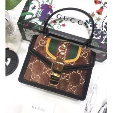 Gucci Sylvie GG Velvet Mini Bag 470270 Brown 2018