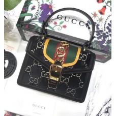 Gucci Sylvie GG Velvet Mini Bag 470270 Black 2018
