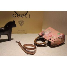 Gucci 368823 Bamboo Shopper Mini Pink Blooms Top Handle Bag F/W2015
