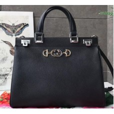Gucci Zumi Grainy Leather Medium Top Handle Bag 564714 Black 2019