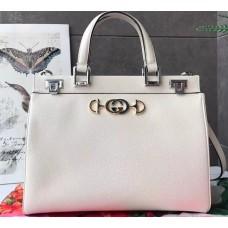 Gucci Zumi Grainy Leather Medium Top Handle Bag 564714 White 2019
