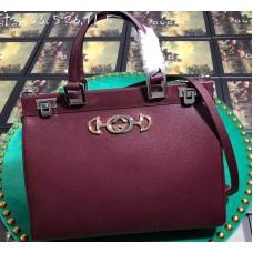 Gucci Zumi Grainy Leather Medium Top Handle Bag 564714 Burgundy 2019