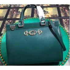 Gucci Zumi Grainy Leather Medium Top Handle Bag 564714 Green 2019