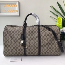 GUCCI 206500 GG SUPREME large carry-on duffle BLACK