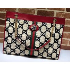 Gucci Web Rajah GG Tweed Large Tote Bag 537219 White/Black 2019
