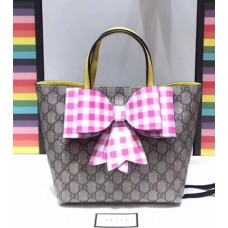 Gucci Children's Check Bow GG Tote Bag 501804 Pink 2018