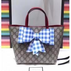 Gucci Children's Check Bow GG Tote Bag 501804 Blue 2018