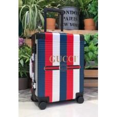 Gucci Sylvie Striped Trim Logo Luggage Blue 2018