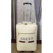Gucci Grained Leather Logo Print Travel Luggage White 2018