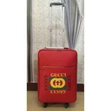 Gucci Grained Leather Logo Print Travel Luggage Red 2018