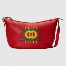 Gucci Red Print Half-Moon Hobo Bag