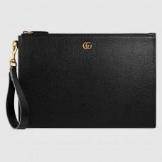 Gucci Black GG Marmont Leather Portfolio Pouch