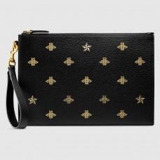 Gucci Bee Star Leather Portfolio Pouch