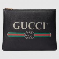 Gucci Black Print Leather Medium Portfolio