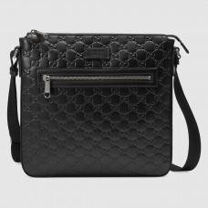 Gucci Black Signature Leather Messenger Bag