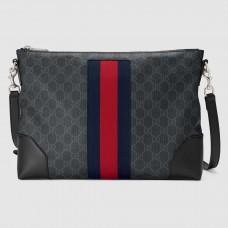 Gucci Black Web GG Supreme Messenger Bag