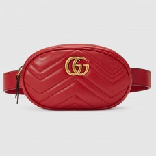 Gucci GG Marmont Belt Bag In Red Matelasse Leather