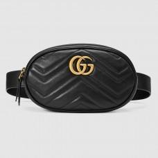 Gucci GG Marmont Belt Bag In Black Matelasse Leather