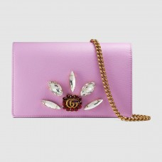 Gucci Pink Mini Chain Bag With Double G and Crystals