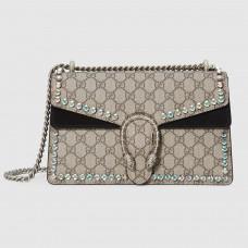 Gucci Black Dionysus GG Supreme Crystal Small Shoulder Bag