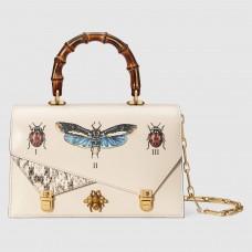 Gucci White Ottilia Leather Small Top Handle Bag