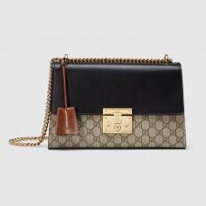 Gucci Black Padlock Medium GG Supreme Shoulder Bag