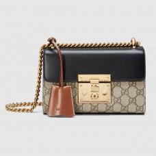 Gucci Black Padlock Small GG Supreme Shoulder Bag