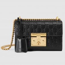 Gucci Black Padlock Small Guccissima Shoulder Bag