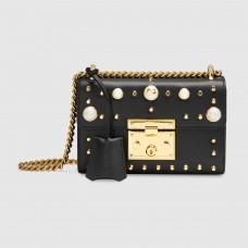 Gucci Black Padlock Small Studded Shoulder Bag