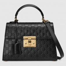 Gucci Black Small Padlock Signature Top Handle Bag