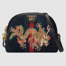 Gucci Navy Ophidia Dragon Small Shoulder Bag