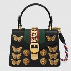 Gucci Black  Sylvie Animal Studs Leather Mini Bag