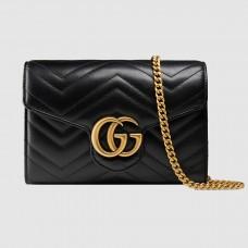 Gucci Black GG Marmont Matelasse Chain Mini Bag