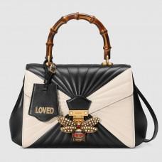 Gucci Queen Margaret Medium Top Handle Black/White Bag