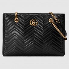 Gucci Black GG Marmont Matelasse Medium Tote