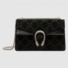 Gucci Black Dionysus GG Velvet Small Shoulder Bag