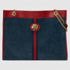 Gucci Blue Suede Rajah Large Tote Bag