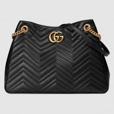 Gucci Black GG Marmont Medium Shopping Bag