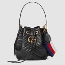 Gucci Black GG Marmont Bucket Bag