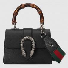 Gucci Black Dionysus Mini Bamboo Top Handle Bag
