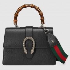 Gucci Black Dionysus Small Bamboo Top Handle Bag