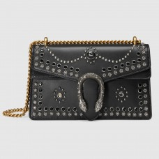 Gucci Black Dionysus Small Studded Shoulder Bag