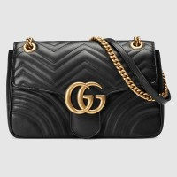 Gucci Black GG Marmont Medium Matelasse Shoulder Bag